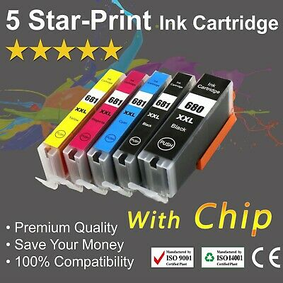 AU36.60 • Buy 5 Ink For Canon 680/681XXL PIXMA TR-7560 TR-8560 TS-6100 TS-6160 TS-6260 TS-6360