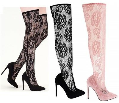 Womens Ladies Stretch Thigh High Over The Knee Stiletto Heel Pull On Sock Boots • 17.90£