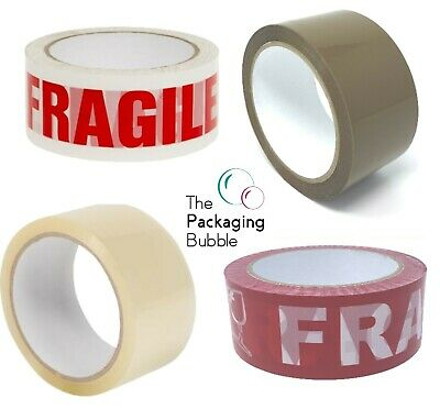 £8.29 • Buy Buff Brown Clear Packaging Parcel Packing Tape Strong 48mm X 66m Fragile 6 12