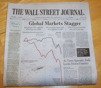 $9 • Buy The Wall Street Journal  3/10/20 Dow Plunges 7.8%. Oils Biggest Slide Since 1991