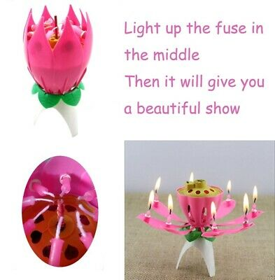 $ CDN3.37 • Buy ROTATING Lotus Candle Birthday Flower Musical Floral Cake Candles &Music Magic