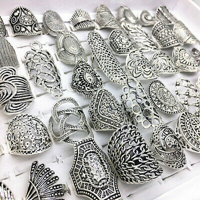 $ CDN21.48 • Buy 20pcs/Lot Mix Styles Vintage Carved Flower Silver Plated Jewelry Rings For Women