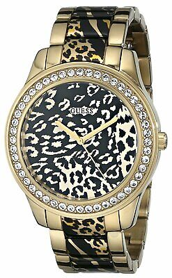 $ CDN82.45 • Buy Guess Women's Gold Tone Leopard Print And Sparkle Crystal 42mm Watch