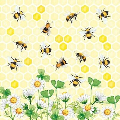 £2.50 • Buy 5 Paper Party Napkins Busy Bees Honey Bee JOY Pack Of 5 3 Ply Tissue Serviettes