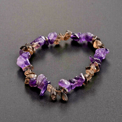Natural Mens Ladies Amethyst Gemstone Chip Stretch Bracelet Chakra Healing UK • 3.29£