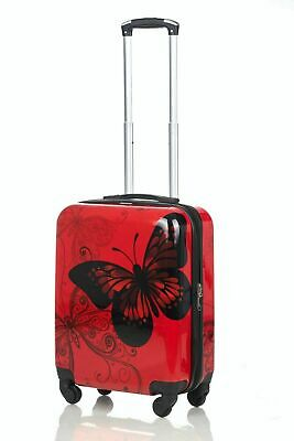 Butterfly Hard Shell 4 Wheels Suitcase PC 19  Hand Luggage Travel Bag Case Cabin • 17.99£