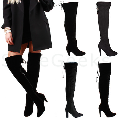 £19.99 • Buy Ladies Womens Zip Stretch Over The Knee Thigh High Heel Boots Size 3 4 5 6 7 8