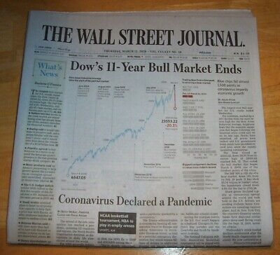 $9 • Buy THE WALL STREET JOURNAL  3/12/20 Dows 11 Year Bull Ends