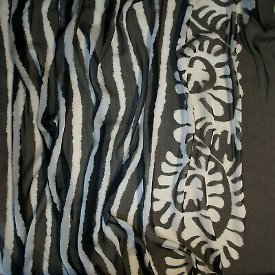 $79 • Buy ETRO Authentic Pure Silk Chiffon Fabric. Black & White. Made In Italy. Prc X 1m.