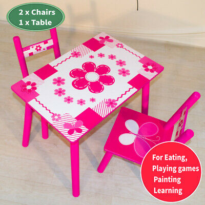 Children Wooden Table And Chair Set Kids Toddlers Studying Painting Home School • 28.99£