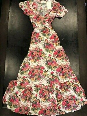 $115 • Buy Auguste Providence Faux Wrap Maxi Dress Natural Floral Sz 4 BNWT