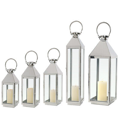 Large/Small Stainless Steel Lantern Tea Light Candle Holder Home Garden Hanging • 22.95£