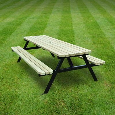 £469.99 • Buy Oakham Rounded Steel Picnic Table / Bench - Heavy Duty - Pressure Treated