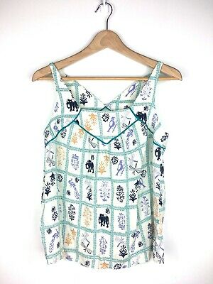 $ CDN40 • Buy Anthropologie Maeve Elephant Dragonfly Floral Teal Tank Top W/ Keyhole Back XS