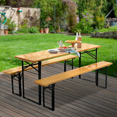 AU188.90 • Buy Artiss Outdoor Furniture Setting Table And Chairs 3 PCS Patio Bench Garden Camp