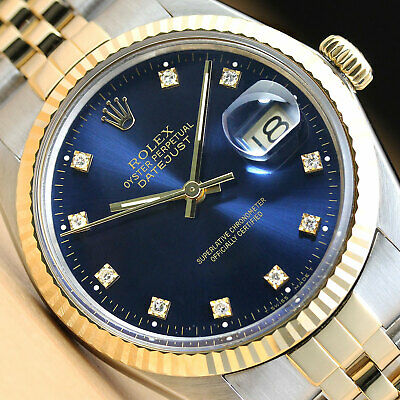 $ CDN7517.95 • Buy Rolex Mens Datejust Factory Diamond Dial 18k Yellow Gold/stainless Steel Watch