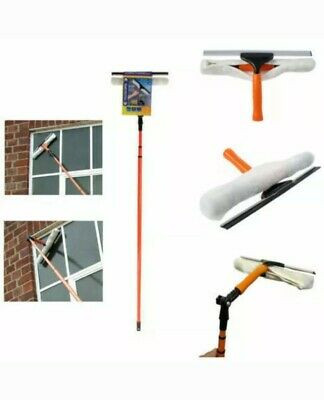 3.5m Telescopic Conservatory Window Glass Cleaner Kit With Squeegee Orange Color • 17.99£