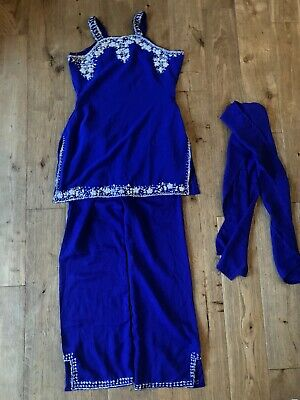 £11.50 • Buy New! Blue, Girls Indian Trouser Suit, 3 Piece, Size 12 Years, Unwanted Gift