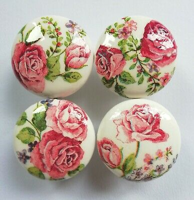 Hand-Decoupaged Wooden Floral Pink Roses Drawer/Door Knobs 46mm £3.50 PER KNOB • 3.50£