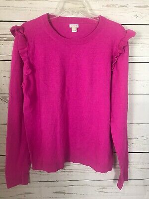 $19.73 • Buy J Crew Dark Pink Sweater With Ruffles On Shoulders-Cotton Wool Blend-Size XL