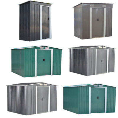 New Metal Garden Shed 3 X 5, 6 X 4, 8 X 4, 8 X 6, 10 X 8 Storage With Free Base • 249.99£