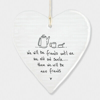 East Of India Wobbly White Porcelain Heart Friends Until We Are Old Gift 10x9cm • 6.49£