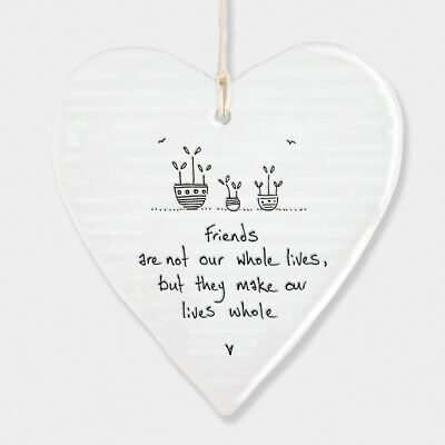 East Of India White Porcelain Heart Friends Are Not Our Whole Life Gift 10x9cm • 6.49£