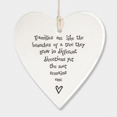 East Of India White Ceramic Families Are Like Branches Of A Tree Heart 9x9cm • 5.99£