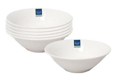 £14.99 • Buy White Porcelain Cereal Bowls 6-Piece Round Breakfast Oatmeal Soup Salad Bowls 17