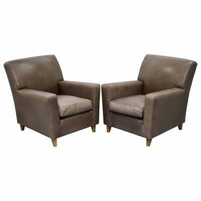 £2750 • Buy Pair Stylish Rrp £8000 Terence Conran Italian Grey Heritage Leather Armchairs