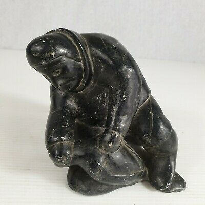 £195 • Buy Vintage Inuit Stone Carving Of A Hunter Killing A Bird Signed To Base