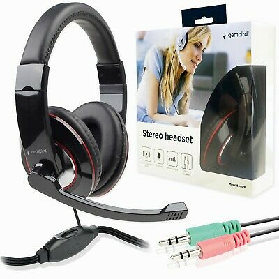 HEADSET With MICROPHONE | 3.5mm X2 CONNECTORS | For Computer Skype Zoom Gaming • 12.99£