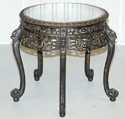 Heavily Carved Chinese Dragon Occasional Centre Table Black Ebonised Finish  • 750£
