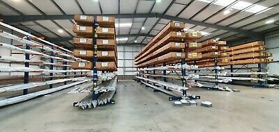 £3306 • Buy 5 Bays Double Sided Cantilever Racking / 6 Uprights & 84 Arms. Used £2755+VAT