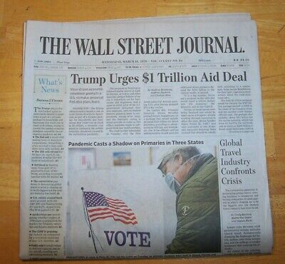 $8 • Buy THE WALL STREET JOURNAL ~ WEDNESDAY MARCH 18th 2020 TRUMPS 1 TRILLION AID DEAL