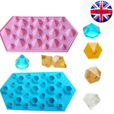 DIAMONDS Crystals Gems Silicone Bakeware Mould Chocolate Wax Melts Candy Mold UK • 3.59£
