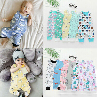 Infant Baby Boys Girls Cartoon Animal Print Romper Jumpsuit Outfits Set Clothes • 5.34£