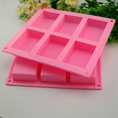 6 Cavity Silicone Rectangle Soap Mould Homemade DIY Cake Making Mold Craft UK • 4.58£