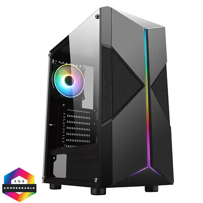 CIT Pyro Mid ATX Tower Gaming PC Case RGB Ring LED Fan 7 Strip Tempered Glass.  • 38.40£