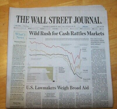 $8 • Buy The Wall Street Journal ~  March 19, 2020  Wild Rush For Cash Rattles Markets