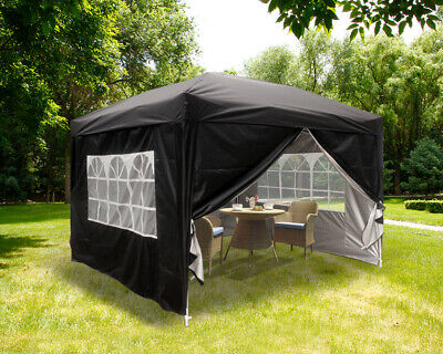 3x3m Pop Up Gazebo Garden Marquee Party Tent Outdoor Canopy 4 Sides Panels Black • 99.99£