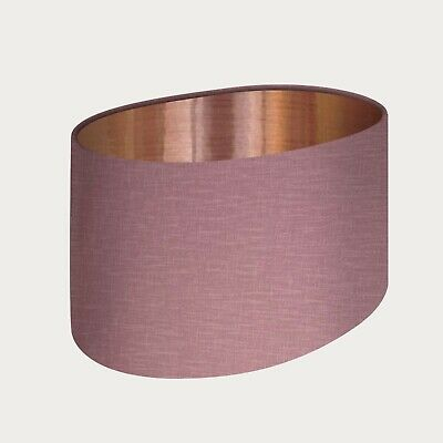 £33.50 • Buy Lampshade Mauve Textured 100% Linen Brushed Copper Oval Light Shade