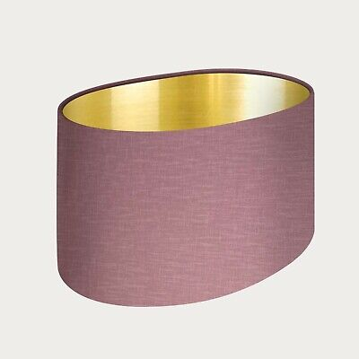 £33.50 • Buy Lampshade Mauve Textured 100% Linen Brushed Gold Oval Light Shade
