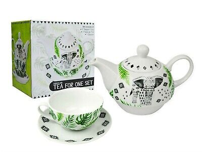 Tea For One Set Teapot Saucer Cup Tea & Coffee, Elephant Aztec White Porcelain • 11.49£