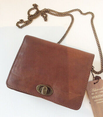 100% Leather Vintage Mini Cross Body Shoulder Bag With Chain Strap - Tan Brown • 44.99£