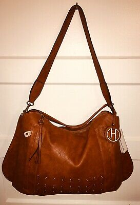 $39.95 • Buy Joelle Hawkens Large Caramel Brown Vegan Leather Convertible Hobo Handbag New