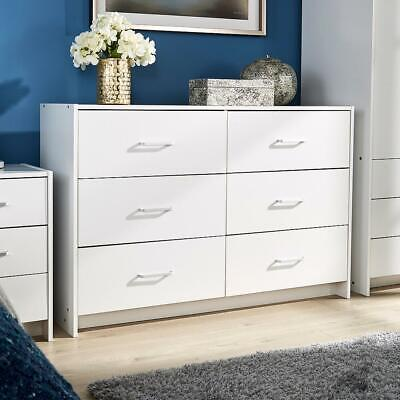 £95 • Buy Stratford Wide Chest Of 6 Drawers White Bedroom Storage Drawers Metal Runners