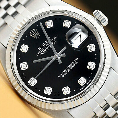 $ CDN5472.98 • Buy Mens Rolex Datejust Black Diamond Dial 18k White Gold * Stainless Steel Watch