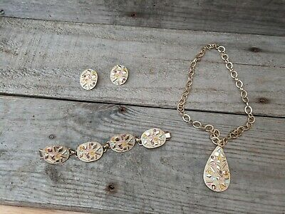 $29.99 • Buy Vintage Sarah Coventry Textured Gold Tone Sultana Mod Teardrop Jewelry Set