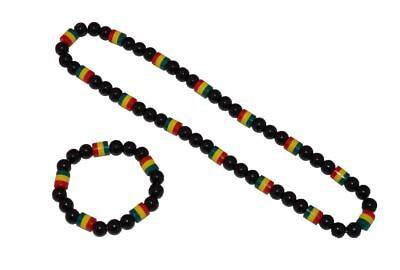 $2.99 • Buy Kubo Rasta Beads Necklace Bracelet Black Green Yellow Red